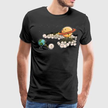Saturn and Earth Walking Their Moons - Men's Premium T-Shirt