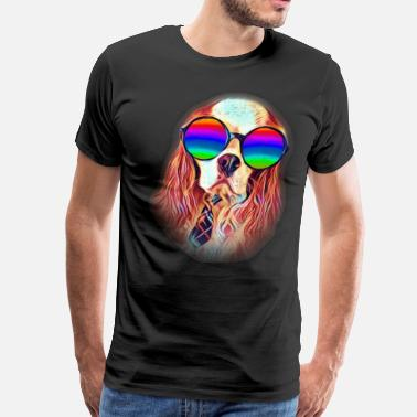 Cavaliers Cavalier King Charles Spaniel Colorful Neon Dog Sunglasses - Men's Premium T-Shirt
