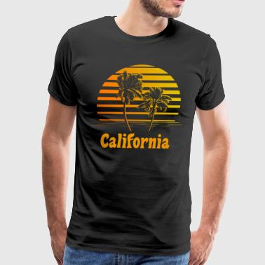 California Sunset Palm Trees - Men's Premium T-Shirt