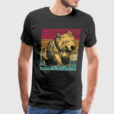 Wombat Animal Pet Animals Natural Australia Retro - Men's Premium T-Shirt