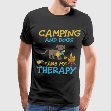 camping and dogs are my therapy dogs - Men's Premium T-Shirt