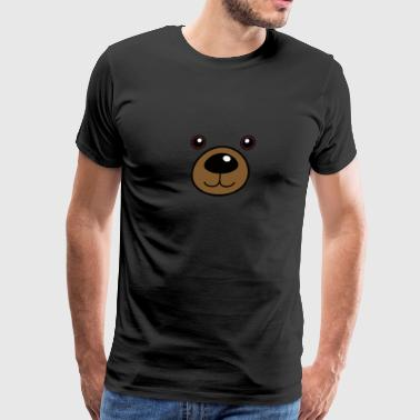 Bear Face Print Teddy Bear Grizzly Brown Bear Face - Men's Premium T-Shirt