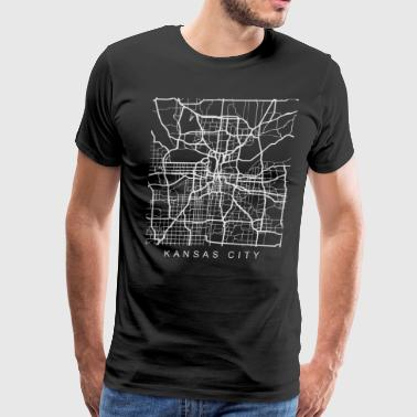 Kansas City Minimalist City Street Map Light Design - Men's Premium T-Shirt