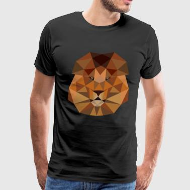 Lion head geometric polygon gift idea line hipster - Men's Premium T-Shirt