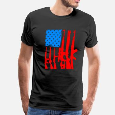 Firearm American Flag With Rifles and Firearms as Strips G - Men's Premium T-Shirt