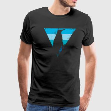 Emperor penguin shadow with blue triangle - Men's Premium T-Shirt