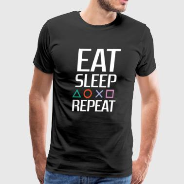 EAT SLEEP PLAYSTATION REPEAT (White) - Men's Premium T-Shirt