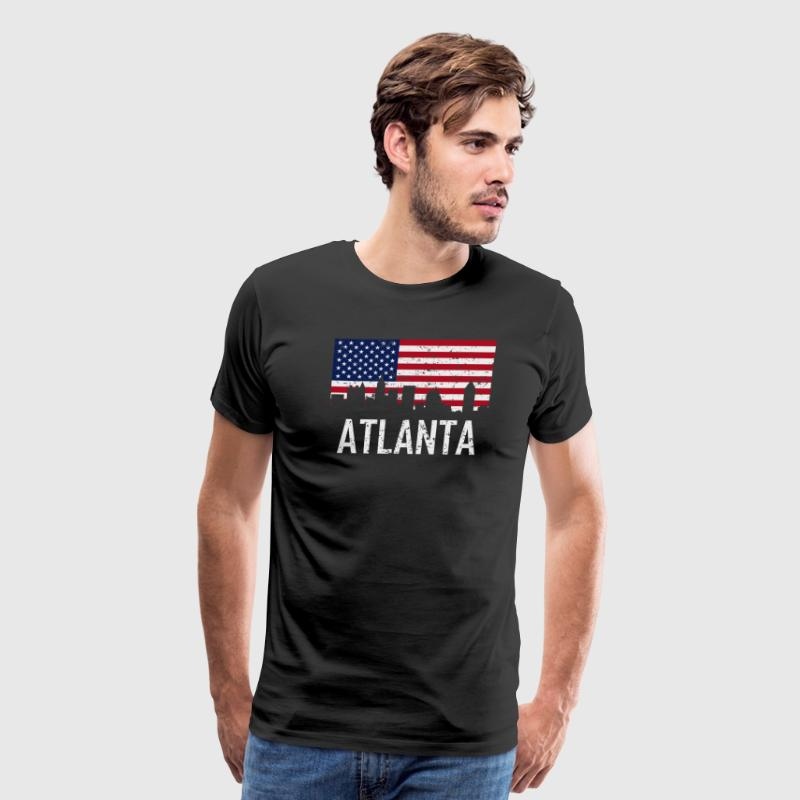 Atlanta Georgia Skyline American Flag Distressed - Men's Premium T-Shirt