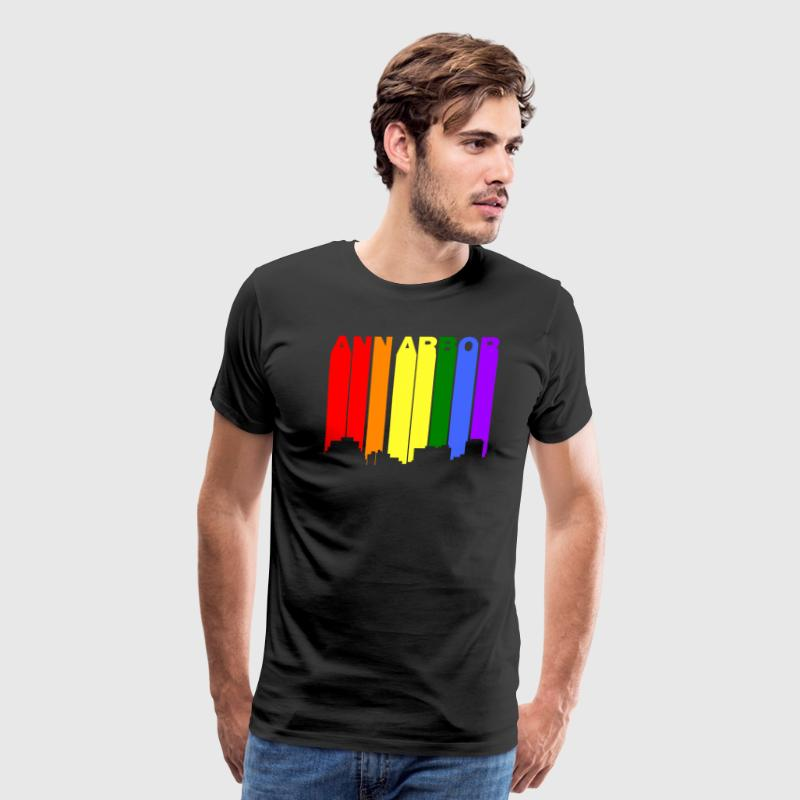 Ann Arbor Michigan Gay Pride Rainbow Skyline - Men's Premium T-Shirt