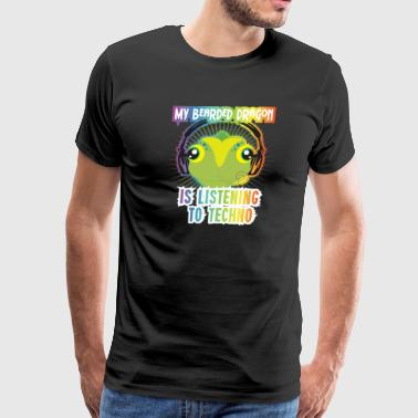 Bearded Dragon Techno Trance GOA Funny Beardie Tee - Men's Premium T-Shirt