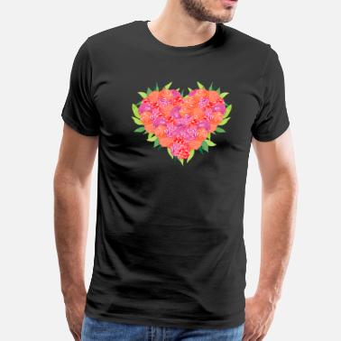 Bouquet Of Flowers HEART FLOWER BOUQUET - Men's Premium T-Shirt