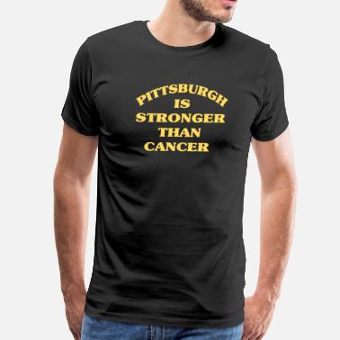 Gold Metallic PITTSBURGH IS STRONGER THAN CANCER Black Gold - Men's Premium T-Shirt