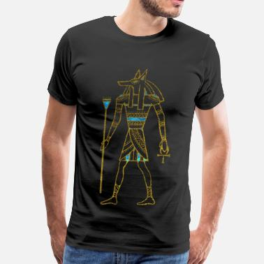 Ancient Egypt Anubis Egyptian  Gold and blue stained glass - Men's Premium T-Shirt