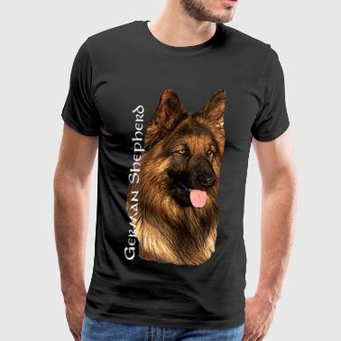 German Sheperd, dog head, dog face, dog breed, - Men's Premium T-Shirt