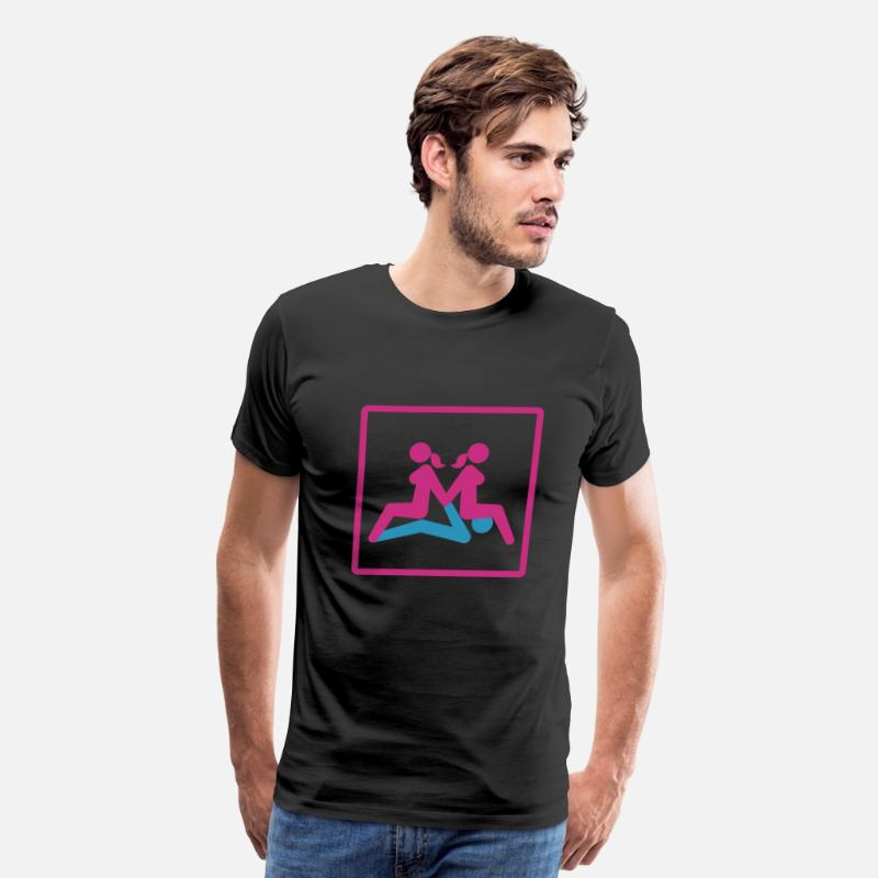 Kamasutra Position T-Shirts - Kamasutra - Menage a Trois (FMF) - Men's Premium T-Shirt black
