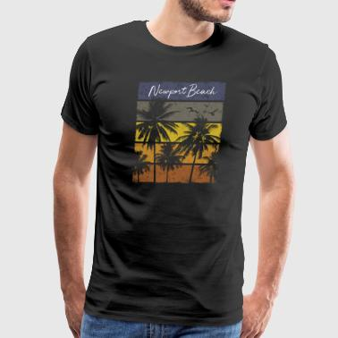 Retro Newport Beach Beach Print Vacation Souvenir - Men's Premium T-Shirt