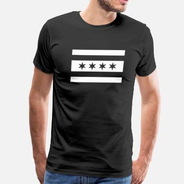 Alternative Apparel Chicago Flag Black and White Alternate  - Men's Premium T-Shirt
