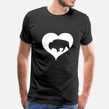 American-bison Bison Buffalo with heart - Men's Premium T-Shirt