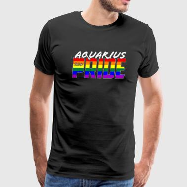 Lesbian Sign LGBT Aquarius Pride Flag Zodiac Sign - Men's Premium T-Shirt