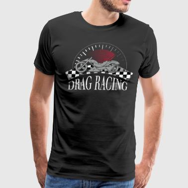 Motorcyle Drag Racing Checkered Flag Shirt - Men's Premium T-Shirt