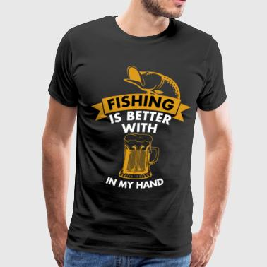 Fishing with beer - Men's Premium T-Shirt