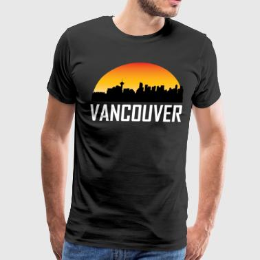 Sunset Skyline Silhouette of Vancouver BC - Men's Premium T-Shirt