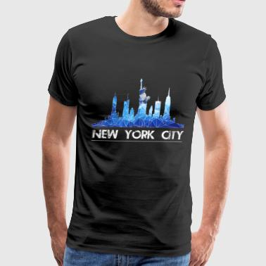 New York City New York Skyline New York City Skyline in blue - Men's Premium T-Shirt