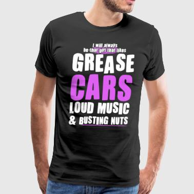 i will always be that girl that likes grease cars - Men's Premium T-Shirt