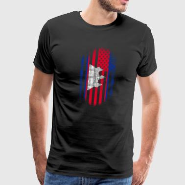 Cambodia Cambodian Flag Cambodian American Flag Cambodia and USA Design - Men's Premium T-Shirt