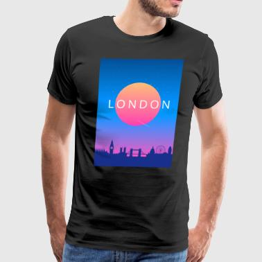 London Skyline Sunset Travel Poster - Men's Premium T-Shirt