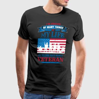 Proud Military Veteran Flag Soldiers Red White Blue - Men's Premium T-Shirt