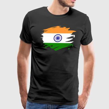 India Paint Splatter Flag Indian Pride Design - Men's Premium T-Shirt
