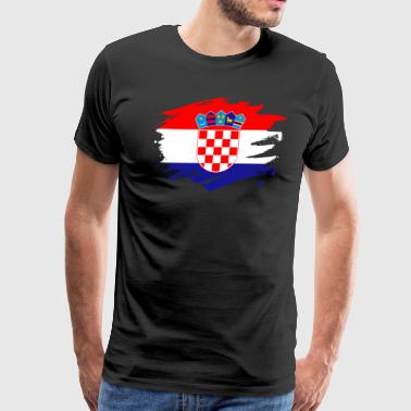Croatia Paint Splatter Flag Croatian Pride Design - Men's Premium T-Shirt