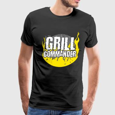 Grill Commander BBQ Barbecue Yellow Cook Cooking Flame Grilling - Men's Premium T-Shirt