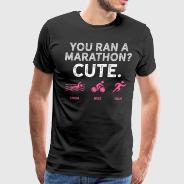 Running Design You Ran A Marathon Pink Cross Country Fitness Funny Gift - Men's Premium T-Shirt