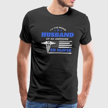 ER Nurse Proud Husband Distressed Blue White Design - Men's Premium T-Shirt