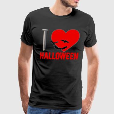 I Love Halloween Blood Heart Bats Creepy - Men's Premium T-Shirt