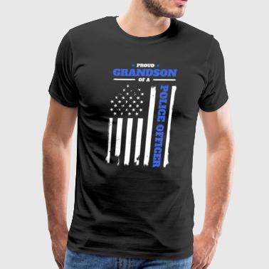 Proud Grandson of a Police Officer Distressed Flag - Men's Premium T-Shirt