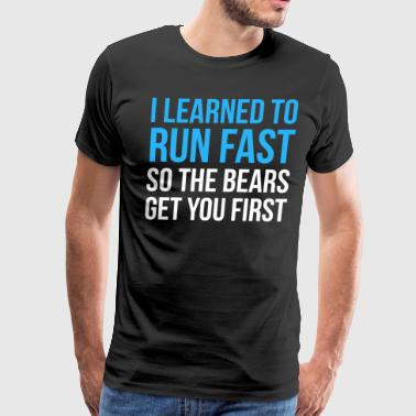 Jesus Cross Running Design I Learned To Run Fast So The Bears Get You First Cross Country Fitness Funny Gift - Men's Premium T-Shirt