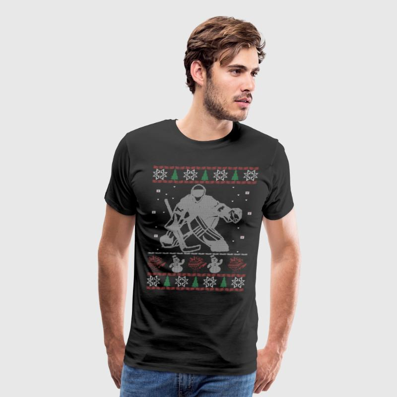 Hockey Goalie Ugly Christmas Sweater - Men's Premium T-Shirt