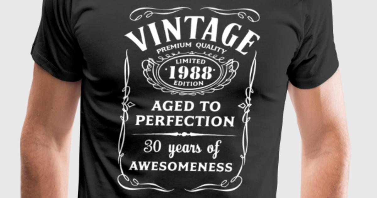 30th Birthday Gifts For Men Vine Premium 1988 T Shirt