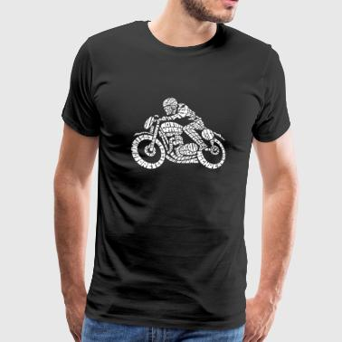 Motorcycle - Cafe Motor Racer Biker Word Cloud - Men's Premium T-Shirt