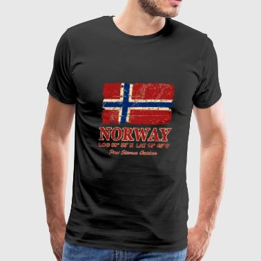 Norway Flag - Vintage Look - Men's Premium T-Shirt