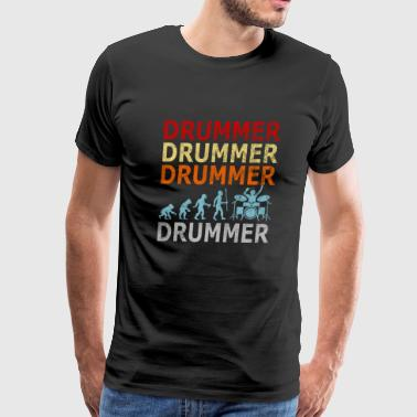 Retro Vintage Evolution Drummer Drums Drumsticks - Men's Premium T-Shirt
