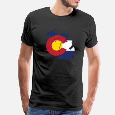 Cute Colorado Clothing Michigan Colorado Funny Pride Flag Apparel - Men's Premium T-Shirt