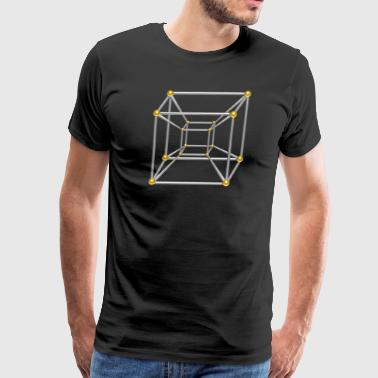 TESSERACT, Hypercube 4D, silver gold, Symbol - Dimensional Shift, Metatrons Cube, - Men's Premium T-Shirt