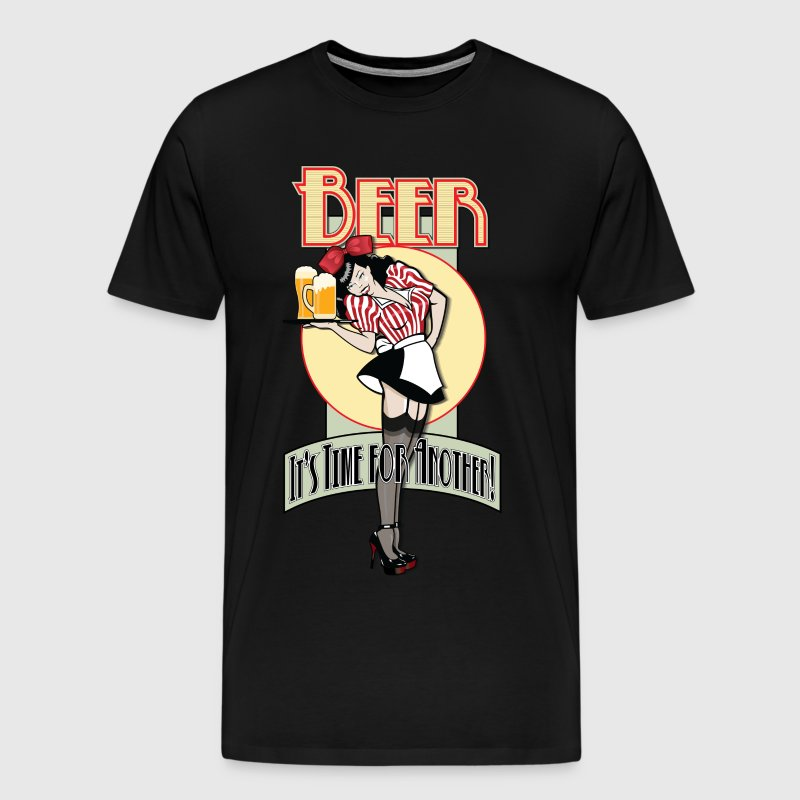 Vintage Pin-up Style Waitress Serving Beer - It's  - Men's Premium T-Shirt