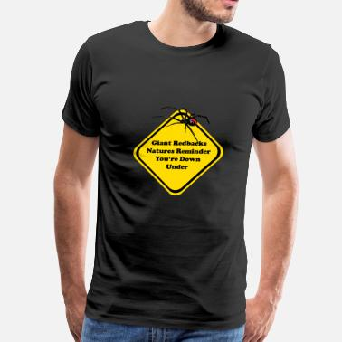 Aussie Funny Redback Warning Sign - Men's Premium T-Shirt
