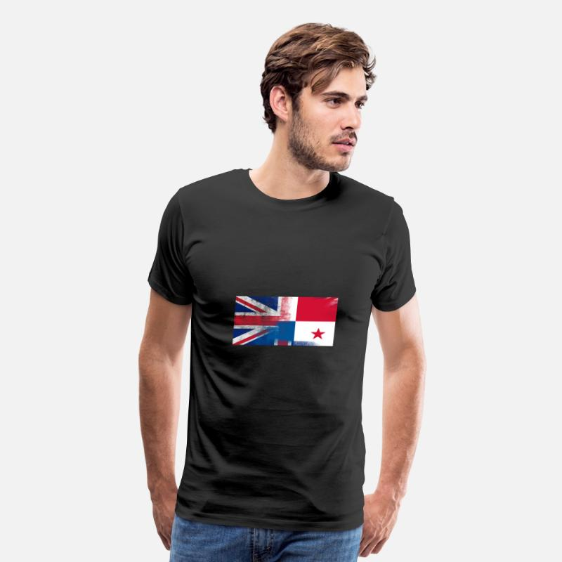 British Flag T-Shirts - British Panamanian Half Panama Half UK Flag - Men's Premium T-Shirt black