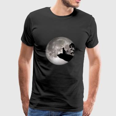 full moon cat werewolf howl cat pet - Men's Premium T-Shirt